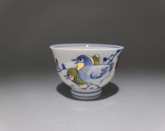 Handmade Korean Chunghwa Baekja White Porcelain Teacup Set for 2 - Golden Pine Tree