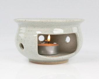 Handmade Korean Ceramic Tea Warmer Set with White Glaze