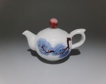 Handmade Korean Chunghwa Baekja White Porcelain Ceramic Teapot - Pine Tree