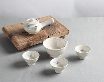 Handmade Korean Baekja Off White Porcelain Tea Set for 3 - Wild Flower with Gift Box, Kyusu Teapot, Tea Ceremony, Gong Fu Tea