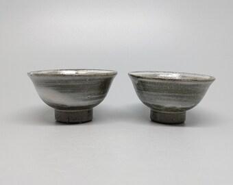 Handmade Wood-Fired Korean Gwiyal Buncheong (Hakeme) Teacup Set for 2