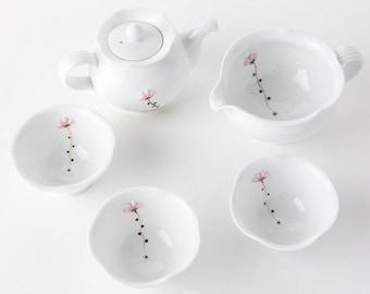 Handmade Korean Baekja White Porcelain Tea Set with Lotus Flowers