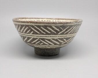 Handmade Wood-fired Korean Comb-Pattern Inlaid Samdo Dawan, Gong Fu Cha, Matcha, Tea Ceremony