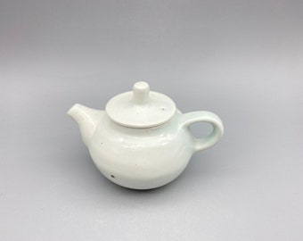 Handmade Korean Charcoal-Fired Baekja White Porcelain Apple Tree Ash Glaze Teapot
