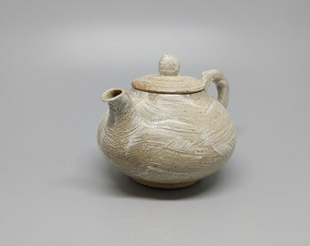 Handmade Wood-fired Korean Gwiyal (Hakeme) Buncheong Tea Pot
