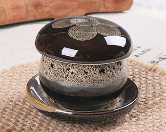 Handmade Korean Chunmok (Tenmoku) Ceramic Tea Set for 1, Infuser, Strainer, Gong Fu Cha, Tea Ceremony
