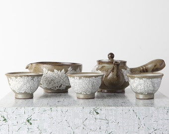 Handmade Korean Buncheong Peony Flower Tea Set for 3 with Gift Box, Kyusu Teapot