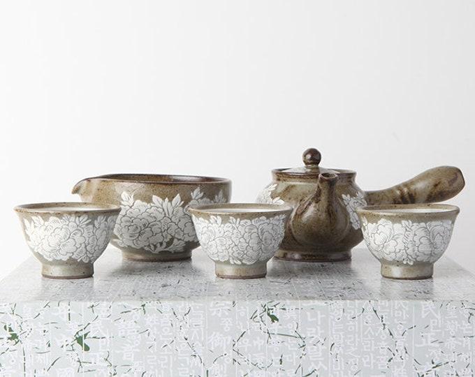 Featured listing image: Handmade Korean Buncheong Peony Flower Tea Set for 3 with Gift Box, Kyusu Teapot