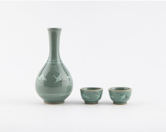 Handmade Korean Celadon Sake Set for 2 by Master Potter Kim Myung Sup - Crane and Clouds with Gift Box