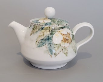 Handmade Hand-Painted Korean Baekja Porcelain Tea Flower Teapot