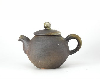 Handmade Korean Wood-Fired Natural Glaze Ceramic Teapot