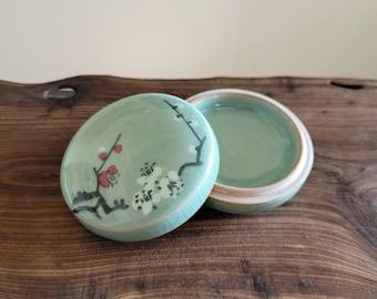 Handmade Traditional Korean Celadon Ceramic Case for Jewelry or Incense - Plum Blossoms
