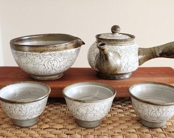 Handmade Korean Buncheong Tea Set for 3 with Peony Flower Patterns Inlay, Kyusu Teapot