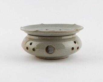 Handmade Korean Buncheong Ceramic Tea Warmer Set with Lotus Leaf Shape, Gong Fu Cha, Tea Ceremony