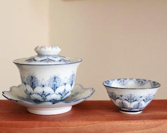 Handmade Hand-painted Korean Flower Mandala Pattern Gaiwan Tea Set, Teapot, Teacup, Chunghwa Baekja, White Porecelain, Gong Fu Cha