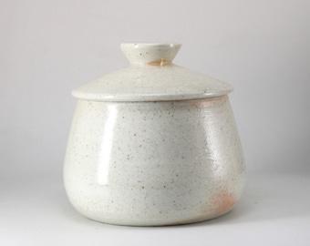 Handmade Wood-Fired Korean Natural GlazeTea Caddy for Loose Tea Storage, Ceramic Tea Canister, Aging Jar