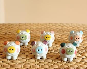 Handmade Korean Ceramic Lucky Pig Tea Pet for Tea Ceremony, Gong Fu Cha