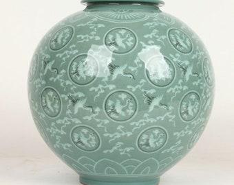 Handmade Korean Inlaid Celadon (상감 청자) Ceramic Jar - Cranes & Clouds