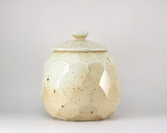 Handmade Wood-Fired Korean Natural Glaze Carved Tea Caddy for Loose Tea Storage