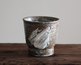 Handmade Wood-fired Korean Gwiyal (Hakeme) Buncheong Tea Cup