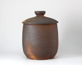 Handmade Korean Wood-Fired Ceramic Tea Caddy for Loose Tea Storage, Ceramic Tea Canister, Aging Jar, Gong Fu Tea