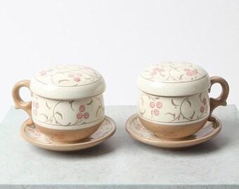 Handmade Korean Buncheong Tea Set for 2 - Red Chrysanthemums, Tea Cup, Strainer, Lid, Saucer, Gong Fu Cha, Ceramic, Tea Ceremony