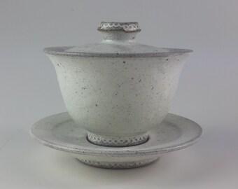 Handmade Wood-Fired Korean White Buncheong Ceramic Gaiwan Teapot