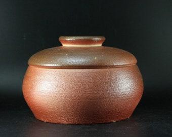 Handmade Wood-Fired Korean Natural Glaze Tea Caddy for Loose Tea Storage