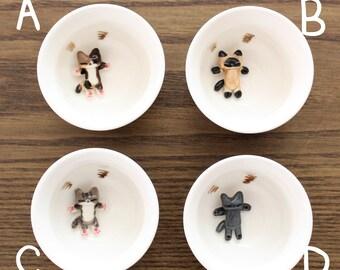 Handmade White Porcelain Cat Cup for Tea, Soju, and Sake