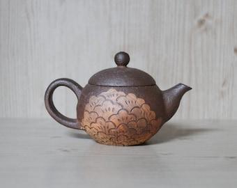 Handmade Wood-fired Korean Peony Flower Inlaid Tea Pot, Natural Glazed