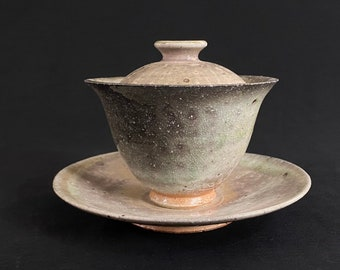 Handmade Korean Soda-Fired Natural Glaze Ceramic Gaiwan Tea Set