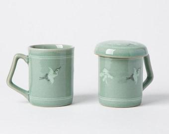 Handmade Korean Celadon Infuser Mug Set for 2 - Cranes and Clouds, Tea Mug, Strainer, Lid, Saucer