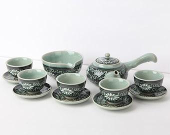 PRE-ORDER - Handmade Korean Dark Inlaid Celadon Tea Set for 5 with Chrysanthemum Pattern, Teapot, Tea Pitcher, Tea Cups, Saucer, Gong Fu Cha