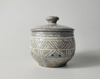 Handmade Wood-Fired Korean Buncheong Tea Storage Aging Jar, Canister