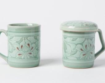Handmade Korean Celadon Infuser Mug Set for 2 - Peony Flowers, Tea Mug, Strainer, Lid, Saucer, Gift Box