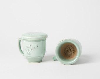 Handmade Korean Celadon Infuser Mug Set for 2 - Plum Blossoms, Tea Mug, Strainer, Lid, Saucer, Gift Box