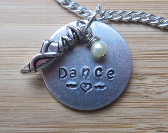 Hand-Stamped Dance Necklace with ballet pointe shoe charm.
