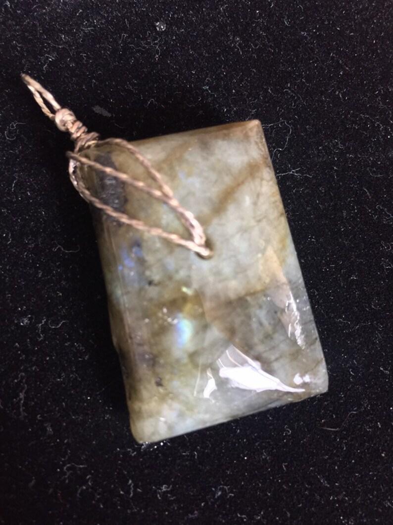 Sterling Silver Labradorite Large Pendant Necklace Handmade USA geometric symbol minimalist jewelry one of a kind