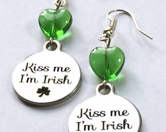 Kiss me I'm Irish, St Patrick's Day earrings, luck of the Irish