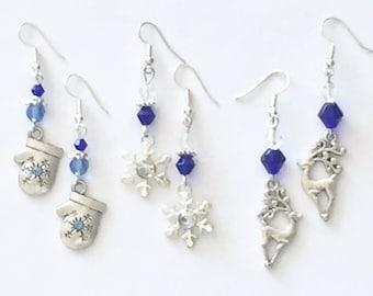 Holiday earrings, winter earrings, blue and silver festive earrings, mitten earrings, snowflake earrings, reindeer earrings
