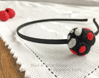 Black  headband, Ladybug headband, Black ladybug headband, girl headband, Black Head Band, hair band, felt hair band, needle felted hairband