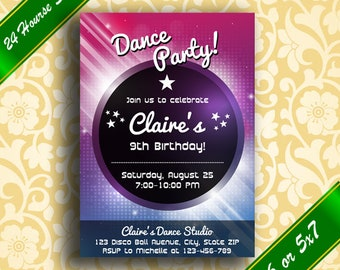 Dance Party Invitation, Dance Party Birthday Invitation, Dance Party Invite, Disco Party Invitation, Disco Party Invite