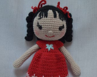 FIGUR Amigurumi Hand Crochet Cute Girl in Red Dress