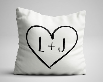 Personalised Couples Initials Romantic Anniversary Gift Cushion