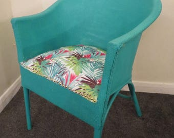 Lloyd Loom Style Upcycled Tub Chair Circ 1940s With Utility Stamp