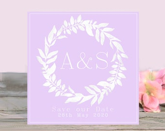 Autumn leaf wreath with autumn monogram letters Fall Wedding Save the Date made in scotland perfect for rustic and classic