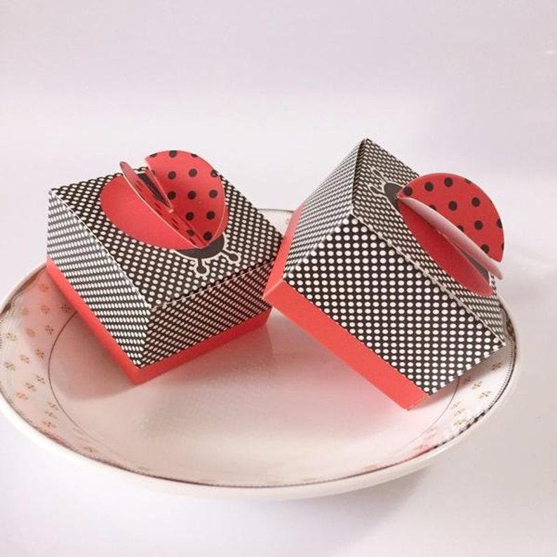 SALE CREATEME\u2122 Lot of 50 or 100 Pieces Ladybug FavorGift Boxes \u2022 Kids Party Favor Boxes \u2022 Birthday Gift Boxes \u2022 Lady Bug Theme