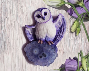 Princess of the Violet meadows. Brooch with barn owl