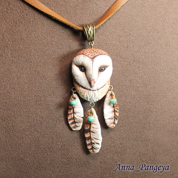 Owl pendant with feathers