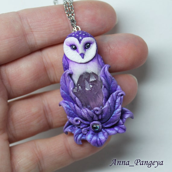 Owl necklace Owl jewelry with crystal